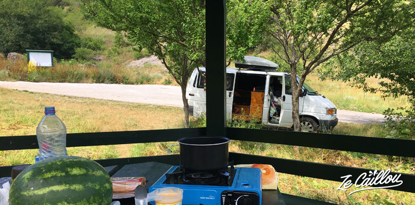 Nice place to park with our campervan during our trip in Macedonia.