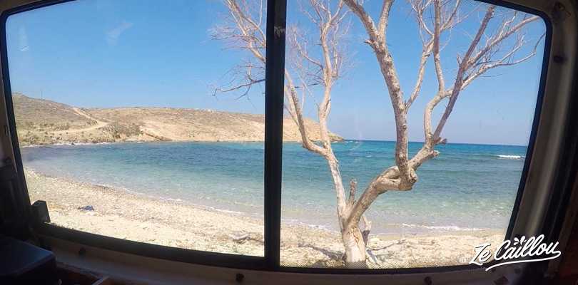 View from our van during our travel on a greek island with a camper van.