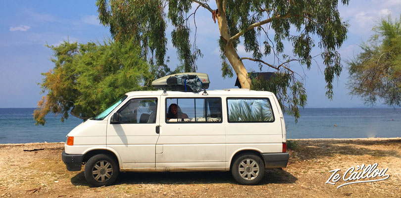 Our spot to sleep on the beach in Pelion with our van in Greece.