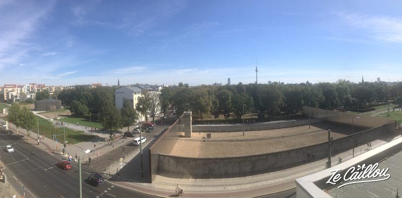 View from the Berlin wall belvedere, 10 meters large and still and observation tower.