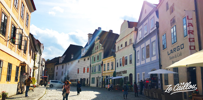 Nice and colorful Cesky Krumlov's streets you can visit in Czech Republique in a van