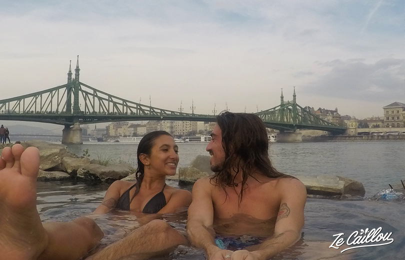 Our mini swimming pool close to Danube in front of Gellert baths in Budapest.
