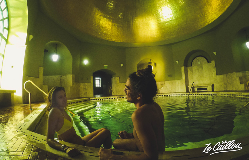 Take a breath and relax in the magnificient golden room of Eger's turkish bath in Hungary.