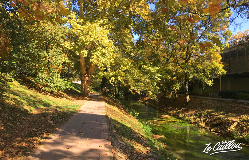 Small park with a river, between the carpark and Miskolc baths in Hungary.