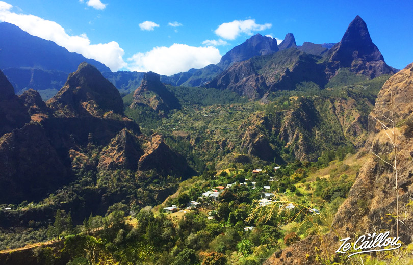 Mafate view from Lataniers village during our GRR2 Day 4, best hike in La Reunion.