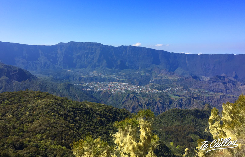 View of Cilaos from Col du Taibit top during our hike Marla Cilaos, GRR2 Day 6!