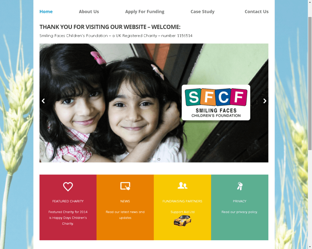 Charity Website | Smiling Faces Children's Foundation