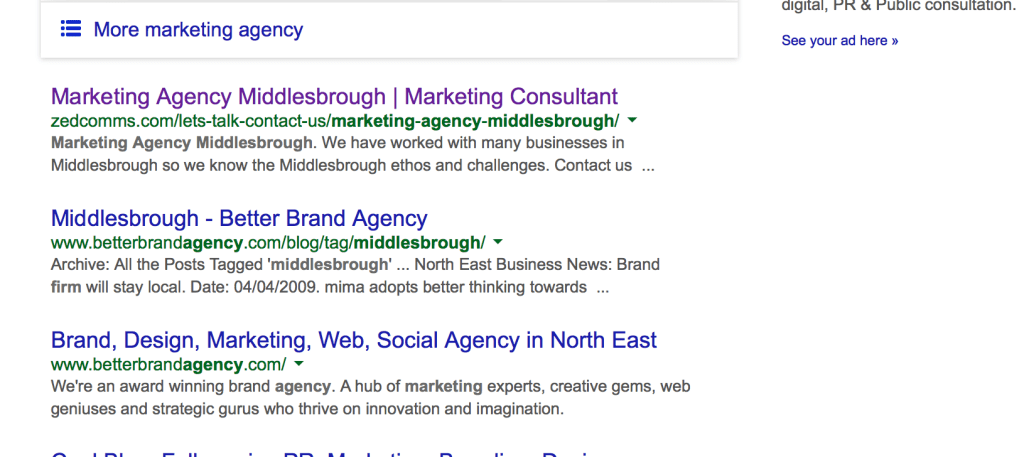 SS Marketing agency Middlesbrough SERP
