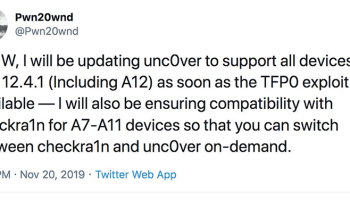 Can jailbreak iOS 12.4.1 with Unc0ver now? Still cannot. But Pwn20wnd has hinted iOS 12.4.1 jailbreak will be possible with Unc0ver soon. He has tweeted recently he is going to update unc0ver support for all the iDevices including A12. He is just waiting for the TFP0 exploit availability on iOS 12.4.1 devices. Then users will be able to choose the easiest jailbreak for iOS 12.4.1 from Unc0ver and Checkra1n. So, wait until release the Unc0ver support for iOS 12.4.1.