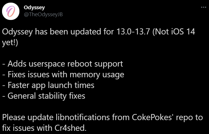 Odyssey has been updated for 13.0-13.7 (Not iOS 14 yet!)