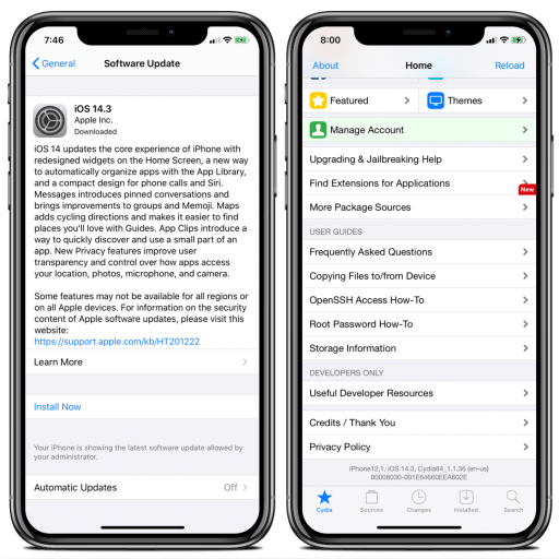 iOS 14.3 update without blobs, without pc and jailbreak