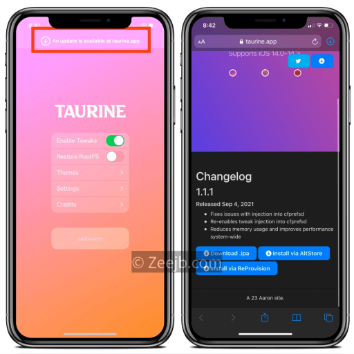 Taurine Jailbreak was updated to v1.1.1 with many fixes.