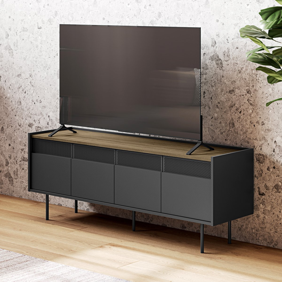meuble tv radio noir noyer fsc metal tema home