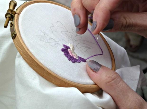 embroidered sweet peas