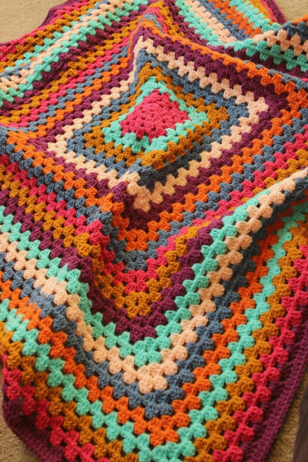 Bright crochet baby blanket