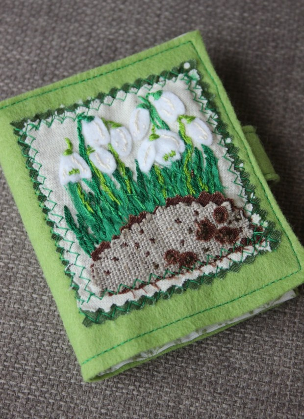 Snowdrops embroidered needlecase