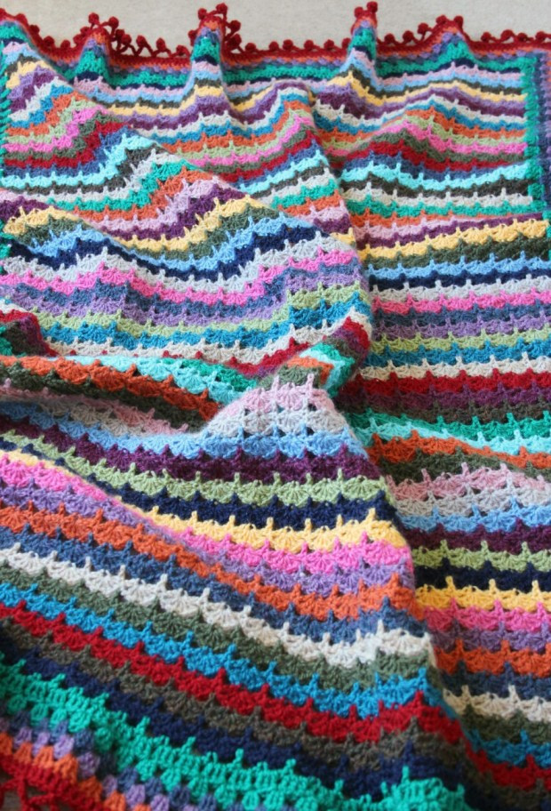 Spice of Life inspired Stacked Shells crochet blanket.