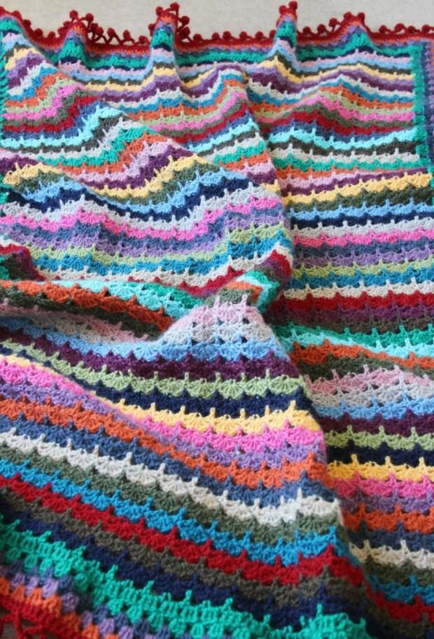 Spice of Life inspired Stacked Shells crochet blanket.