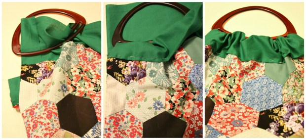 Attaching the handle onto the patchwork knitting bag