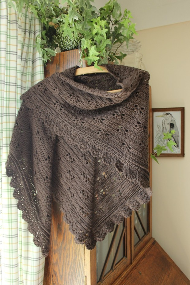 Cherry Heart's Victoria Shawl in brown.