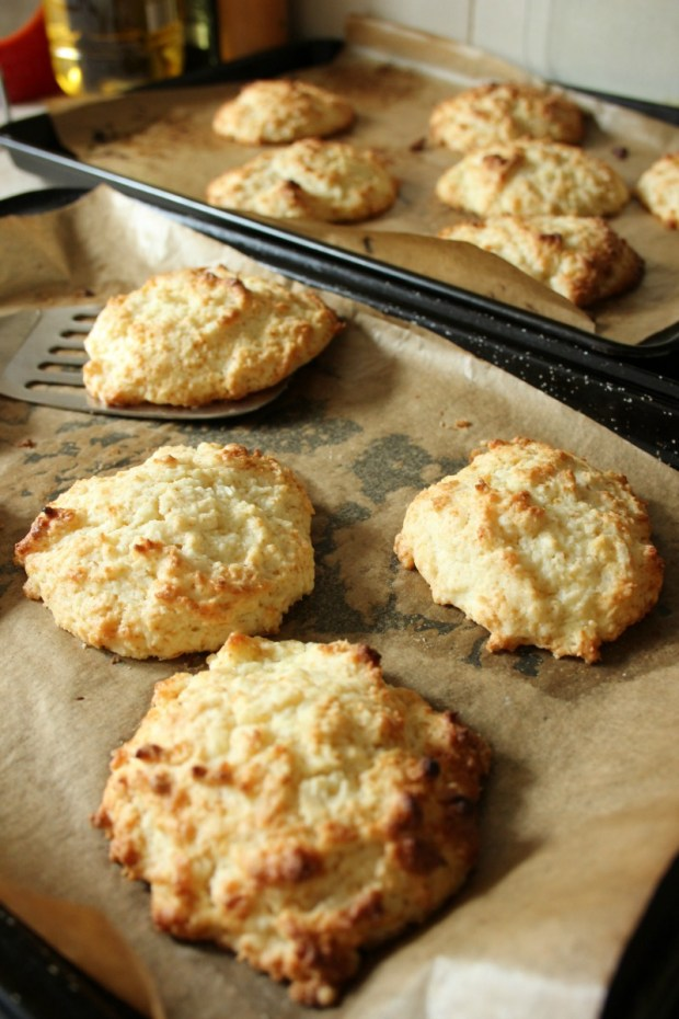 making coconut rock cakes.