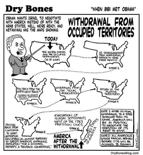 כך תראה ארצות הברית לאחרשתחזיר שטחים שכבשה.תיאור קריקטוריסטי של דרישות אובמה מנתניהו בבלוד של הקריקטוריסט DRY BONES