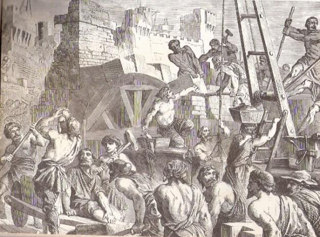 בניית בית המקדש  - ציור מן המאה ה-19
