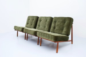 Set of three Italian Lounge chairs in Beech and Velvet , 1950's