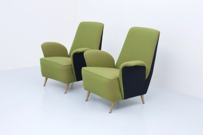 Two Armchairs in wooden structure with newly upholstered green and black upholstery and Brass, Italy, 1960's