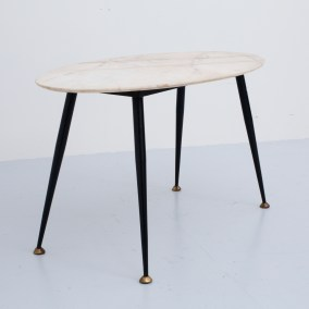 Oval Coffeetable in Marble, Metal and Brass, Italy, 1960's