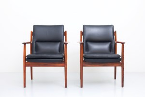 Two Armchairs in Rosewood and Leather by Arne Vodder for Sibast Møbler, Denmark, 1960's