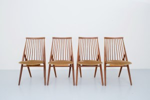 "A set of four chairs ""Flamingo"" by Thea Leonard, Nässjö Stolfabrik, mid 20th century."