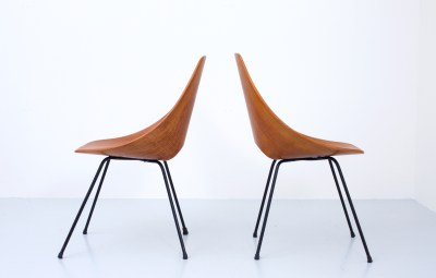 Pair of 'Medea' Diningchairs by Vitorio Nobili for Fratelli Tagliabue in Teak and Metal, Italy, 1955