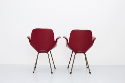 Set of two 'Medea' Armchairs by Vittorio Nobili in Steel and faux leather, Italy, 1950's