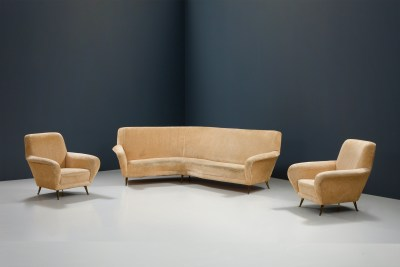 1 Sofa curved and 2 Lounge Chairs by I.S.A._Fabric and Brass_Italy_1960s5H0A4632HR_zeger van Olden_mid century_mid century modern_amsterdam_italian_scandinavian