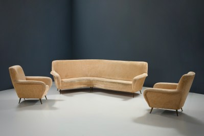 1 Sofa curved and 2 Lounge Chairs by I.S.A._Fabric and Brass_Italy_1960s5H0A4671HR4_zeger van Olden_mid century_mid century modern_amsterdam_italian_scandinavian
