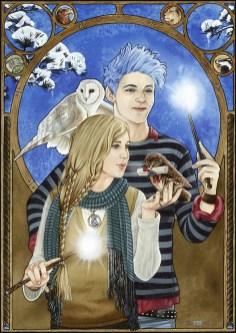 """""""Hogwarts Holiday Post"""" Teddy Lupin und Victoire Weasley von J.K. Rowling, Aquarell & Filzstift, 2013"""