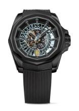 Corum Admiral - AC-ONE 45mm - Skeleton Titan PVD Schwarz, Kautschukband Skelettiertes Automatikwerk Hellblaue Datumscheibe Limitiert, 9.950 €