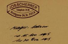 Stempel und Datum auf der ersten Seite des Tagebuchs von Josef Scherrer