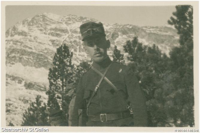 Major Rudolf Keel-Conrad im Aktivdienst im Oberengadin während des Jahreswechsels 1915/16