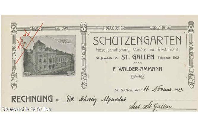 Briefkopf des Schützengartens in St.Gallen, dessen Wirt sich gegen Einkommenseinbussen wegen Beschränkung der Fastnachtsbelustigungen wehrte