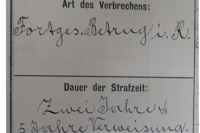 Einträge im Stammbuch der Strafanstalt St.Jakob