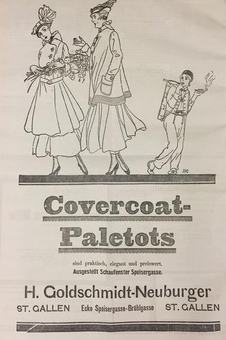 Paletot-Werbung aus dem St.Galler Tagblatt