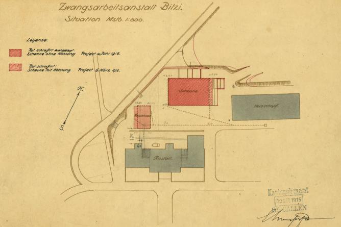 Plan für den Neubau einer Scheune in der Bitzi, Mosnang
