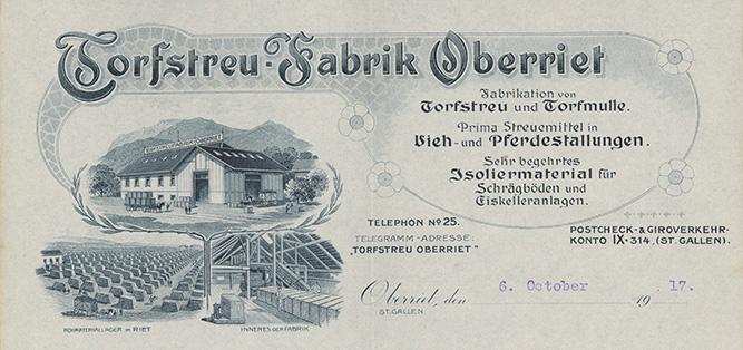 Torfstreufabrik Oberriet, Briefkopf