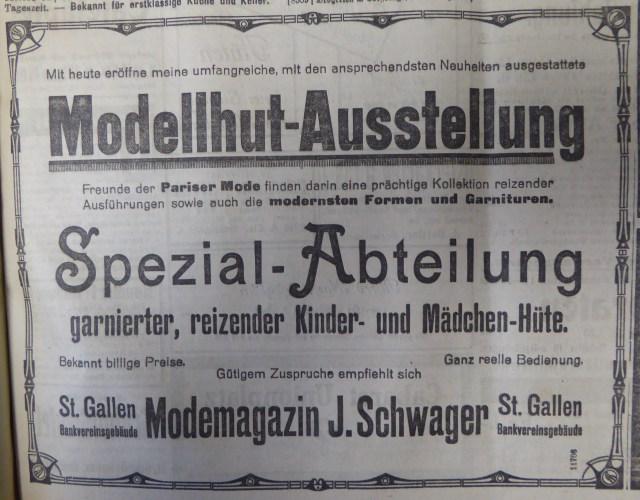 Anzeige Modellhut-Ausstellung