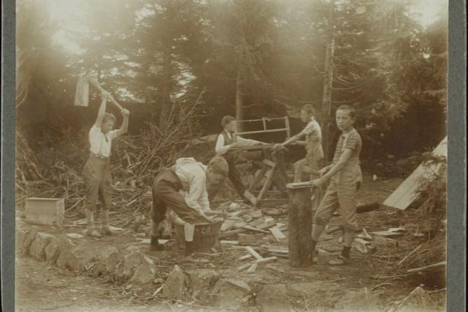 Schueler beim Holzen