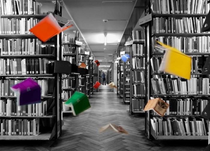 Wo soll es langgehen, Bücher? Weiter in Regalen rumstehen und Staub ansetzen, oder doch lieber flügge werden und in eine farbigere Zukunft fliegen? Solcherlei Flugmanöver macht euch jedenfalls kein Tablet oder eBook-Reader nach. Wohin sich digitalen Bücher erst noch träumen müssen, da seid ihr seit Jahrhunderten heimisch: Das Land «Libraria», die unstillbare Lust, an endlosen Regalen vorbei durch endlose Flure zu gehen, Staub in der Nase und Tausende Datenträger, fein säuberlich aufgereiht, entlangflanieren. Solch körperliche Lust wird das WWW nie produzieren. Und doch, Obacht, liebe Bücher: Letzten Endes seid auch ihr zuerst einmal Datenträger! (Foto: www.lucianhunziker.com).