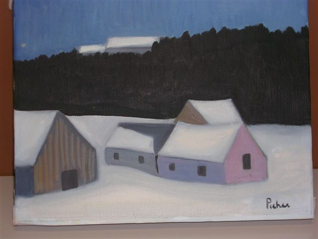 An oil painting of a farmhouse by Claude Picher made in 1973.