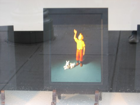 Crappy close-up of an unknown artist's painting of Tintin